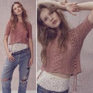 Knitz Rose Pink Wythe Crop Cable Sweater